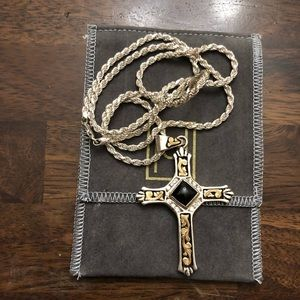 Hyo silver 30 inch chain and cross